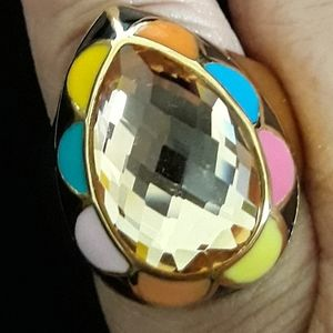 Jewelry - Simulated Citrine Enameled Ring Size 9.0
